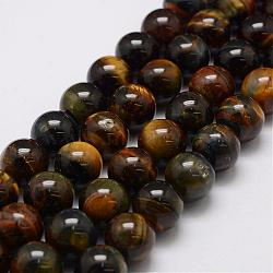 Natural Tiger Eye Bead Strands, Grade AB, Round, 4mm, Hole: 1mm; about 88pcs/strand, 14.9''~15.5''