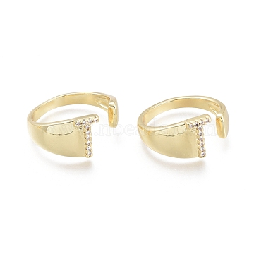 Brass Micro Pave Clear Cubic Zirconia Cuff Rings, Open Rings, Letter, Letter.T, Size 7, Inner Diameter: 17mm; T: 9x5.5mm(RJEW-F103-13T-G)