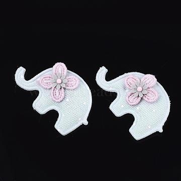 Handmade Cotton Cloth Costume Accessories, Elephant, Aqua, 29~32x48x7~10mm(X-FIND-T021-15A)