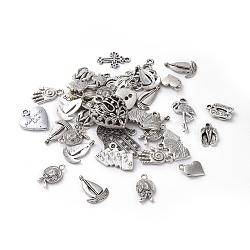 бесплатный подарок в январе и феврале, металлические подвески в тибетском стиле для изготовления и изготовления ювелирных изделий, cmешанные формы, античный серебряный цвет, размер: около 12~64 mm длиной, 9~62 mm шириной, 1~20 mm, отверстия: 2~6 mm