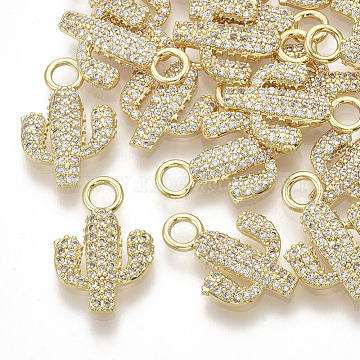 Brass Micro Pave Cubic Zirconia Pendants, Real 18K Gold Plated, Cactus, Clear, 16x11x1.5mm, Hole: 2.5mm(X-ZIRC-K082-029A)