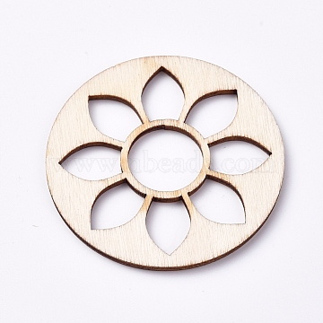Wood Cabochons, Laser Cut Wood Shapes, Flat Round with Lotus, Blanched Almond, 48.8x2.2mm(X-WOOD-TAC0003-34)