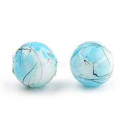 Drawbench & Baking Painted Glass Beads Strands, Round, Light Sky Blue, 8mm, Hole: 1mm, about 106pcs/strand, 31.4 inches(X-GLAA-S176-02)