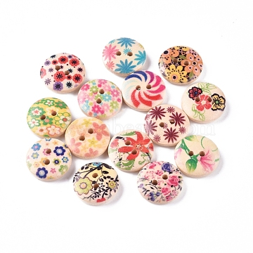 2-Hole Printed Wooden Buttons, for Sewing Crafting, Flat Round with Mixed Flower Pattern, Dyed, Mixed Color, 14.5~15x4mm, Hole: 2mm(WOOD-E011-01)
