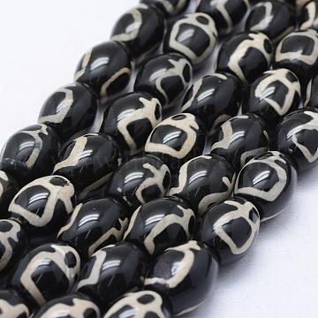 16mm Black Oval Tibetan Agate Beads
