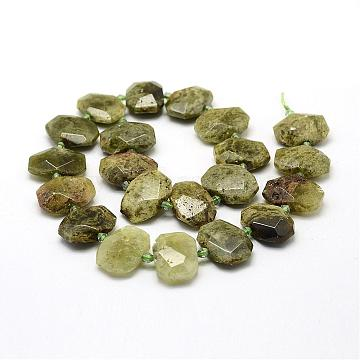 17mm LightGreen Oval Garnet Beads