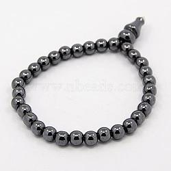 Модные магнитные синтетический гематит Эластичный браслеты Будды, чёрные, 61 мм(BJEW-K007-06)