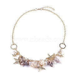 Natural Conch Shell Bib Statement Necklaces, with Acrylic Imitation Pearl, CCB  Plastic Beads and Iron Rolo Chains, Starfish/Sea Stars, Light Gold, 21.2inches(54cm) (X-NJEW-WH0004-02LG)