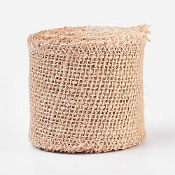 Rouleaux de lin, rubans de jute pour création des crafts, burlywood, 6 cm(OCOR-WH0027-D-01)
