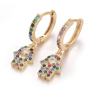 Brass Leverback Earrings, with Cubic Zirconia, Hamsa Hand/Hand of Fatima/Hand of Miriam, Colorful, Golden, 27mm; Pin: 1mm(EJEW-E234-03A-G)