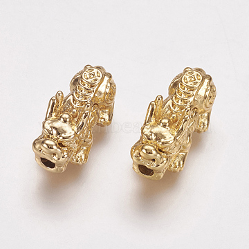 Real 24K Gold Plated Alloy Beads, Pixiu with Chinese Character Cai, 20x9x9mm, Hole: 2.5mm(X-PALLOY-L205-06A)