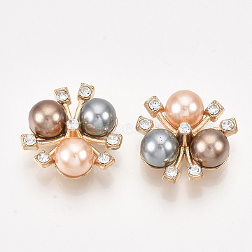 Alloy Rhinestone Cabochons, with ABS Plastic Imitation Pearl, Flower, Crystal, Light Gold, 20x20x8.5mm(X-PALLOY-T066-17KC)