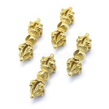 Brass Beads, Dorje Vajra for Buddha Jewelry, Lead Free & Cadmium Free & Nickel Free, Raw(Unplated), 35.5x12x12.5mm, Hole: 4mm(KK-G319-57C-RS)
