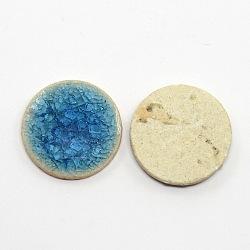Flat Round Handmade Crackle Porcelain Cabochons, Medium Blue, 20x4mm(X-PORC-P001-5)