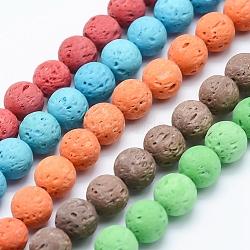 Chapelets de perles de lave naturelle, rond, teint, couleur mixte, 8mm, trou: 1mm; environ 49 pcs/chapelet, 15.35'' (39 cm)(G-P339-M)