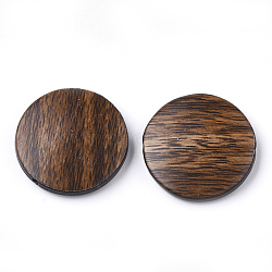 Perles acryliques, imitation bois, plat rond, chameau, 21x5mm, Trou: 1.8mm(X-OACR-S022-05B)