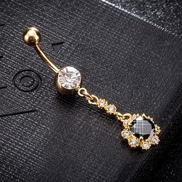 Eco-Friendly Brass Cubic Zirconia Navel Ring, Belly Rings, with Use Stainless Steel Findings, Real 18K Gold Plated, Flower, Black, 50x11mm, Pin: 1.5mm(AJEW-EE0004-32C)