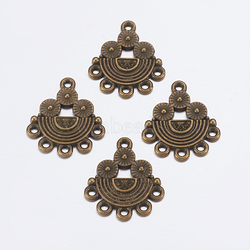 Alloy Rhinestone Connector Settings, Lead Free and Cadmium Free, Half Round, Antique Bronze Color, about 21.5mm long, 18mm wide, 2mm thick, hole: 1mm(EA10681Y-AB)