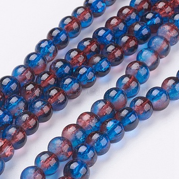Crackle Glass Beads Strands, Round, MediumBlue, 6mm, Hole: 1.3~1.6mm; about 125~133pcs/strand, 31.4 inches(X-CCG-Q002-6mm-12)
