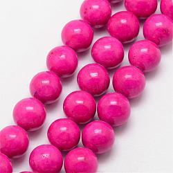 """Perles fossiles, teint, rond, rose foncé, 8mm, trou: 0.8mm; environ 50 pcs/chapelet, 16""""(G-SR8MM-FS26)"""