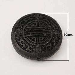 Cinnabar Beads, Carved Lacquerware, Flat Round, Black, 30x10mm, Hole: 2mm(X-CARL-201-1)