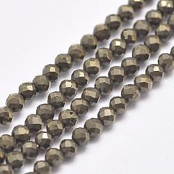 """Chapelets de perles de pyrite naturelle , facette, rond, 2mm, trou: 0.2mm; environ 192~200 pcs/chapelet, 15.2"""" (38.5 cm)(X-G-D862-57-2mm-A)"""