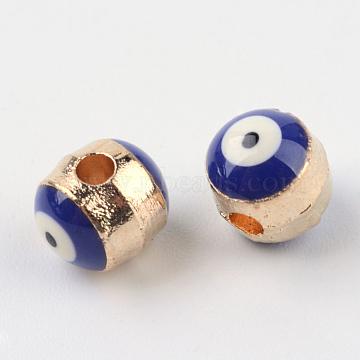 Alloy Enamel Beads, Column with Evil Eye Pattern, Blue, 6.5x6mm, Hole: 1.5mm(X-ENAM-Q032-02)