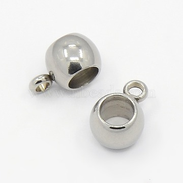 304 Stainless Steel Hanger Links, Bail Beads fit European Chains, Rondelle, Stainless Steel Color, 5x9x6mm; Hole: 1mm, Inner Diameter: 4mm(X-STAS-M005-02)