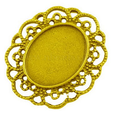 Alloy Cabochon Settings, DIY Material for Hair Accessories, Antique Golden, Cadmium Free & Nickel Free & Lead Free, 41x35x2mm, Hole: 1mm, Tray: 24x17.5(X-EA079Y-NFG)