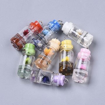 Glass Bottle Pendant Decorations, with Natural Gemstone & Dried Flower, Resin Tampions and Platinum Plated Iron Findings, 28~29x11mm, Hole: 1.8mm(X-GLAA-S181-12)