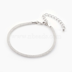 """Bracelets à mailles en laiton, avec perles de verre à l'intérieur et pinces de homard, clair, platine, 6-7/8"""" (17.6cm) ~ 7-1/4"""" (18.5cm)(BJEW-F358-01P)"""