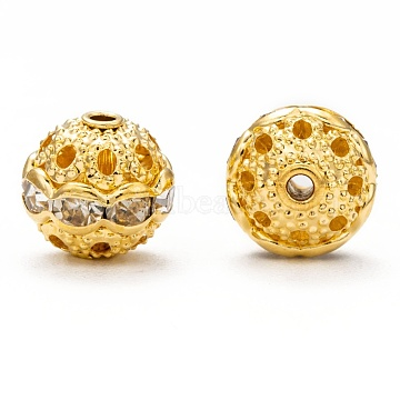 Brass Rhinestone Beads, Grade A, Round, Golden Metal Color, Tan, Size: about 10mm in diameter, hole: 1.2mm(RB-H041-5)