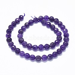 Natural Amethyst Beads Strands, Faceted, Round, 10mm, Hole: 1mm; about 38~40pcs/strand, 15.7''(40cm)