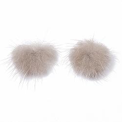 décoration de boule de fourrure de vison faux, boule de pom pom, pour bricolage, tan, 3.5~4 cm(X-FIND-S267-4cm-10)