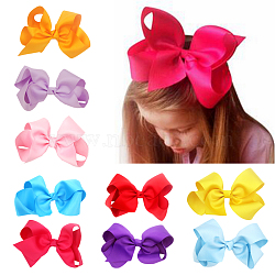 Grosgrain Bowknot Alligator Hair Clips, with Iron Alligator Clips, Mixed Color, 150mm(OHAR-Q096-M)