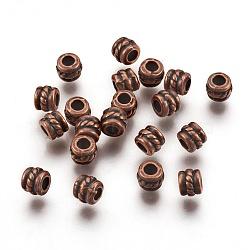 Séparateurs perles en alliage de style tibétain, colonne, cuivre rouge, sans plomb et sans cadmium; 5x4 mm, trou: 2.2 mm; environ 80 pcs / 20 g(Y-RLF0447Y)