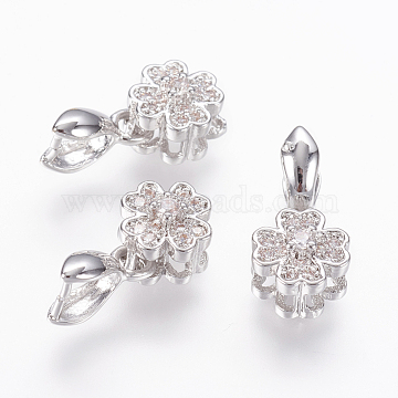 Brass Micro Pave Cubic Zirconia Pendant Pinch Bails, Clover, Clear, Real Platinum Plated, 16mm; 10x3x6mm; Pin: 0.8mm(X-ZIRC-L062-I03-P)