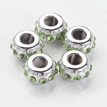 Rondelle Platinum Core CCB Plastic Glass Rhinestone Large Hole European Beads, Chrysolite, 14x8mm, Hole: 5mm(CPDL-I004-10)