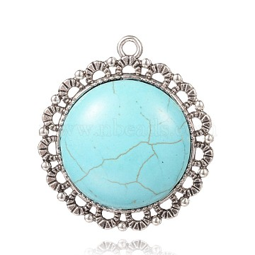 Antique Silver Flower Synthetic Turquoise Pendants