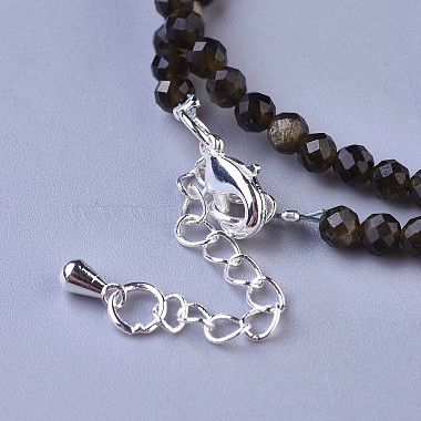 Natural Golden Sheen Obsidian Beaded Necklaces(NJEW-K114-B-A19)-3
