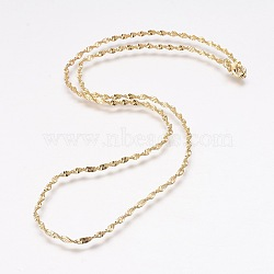 Brass Singapore Chain Necklace Making, Twisted Chain, with Lobster Claw Clasps, Golden, 17.5 inches(44.5cm), 2mm(X-MAK-L010-04G)