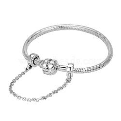 Tinysand® sterling tinysand argent chaîne de sécurité bracelets européens, argenterie, 200mm; emballage se: 11x11.4x2.3cm(TS-BS002-S-20)
