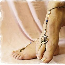 Анкерные кольцо сплава сандалеты, босиком сандалии, с железной цепью, античная бронза, 245 мм(AJEW-P034-04)