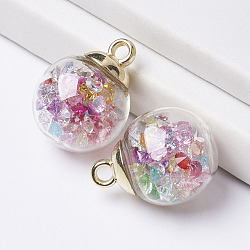 Pendentifs de boule en verre, avec accessoires en plastique CCB et des strass en résine, or, 21x16mm, Trou: 2.5mm(GLAA-P126-02)
