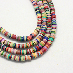 Handmade Polymer Clay Beads, Disc/Flat Round, Heishi Beads, Mixed Color, 4x1mm, Hole: 1mm; about 380~400pcs/strand, 17.7 inches(X-CLAY-R067-4.0mm-M2)