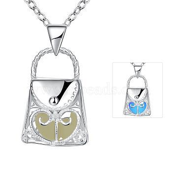 Zinc Alloy Hollow Handbag Luminous Noctilucent Necklaces, with Cable Chains, Lavender, Silver Color Plated, 18.1 inches(46cm)(NJEW-BB03125-C)