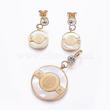 304 Stainless Steel Jewelry Sets, Pendants and Stud Earrings, with Shell and Rhinestone, Flat Round, Golden, 45x25x2mm, hole: 5mm; 26x14x2~4mm; Pin: 0.8mm(SJEW-G057-22G)