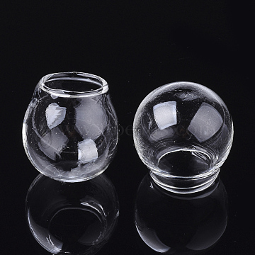 Handmade Blown Glass Globe Ball Bottles, for Glass Vial Pendants Making, Round, Clear, 21~22x19~20mm, Half Hole: 8.5mm(BLOW-T001-30A)