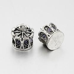 Perles européennes en alliage plaqué argent antique avec strass, grosses perles de la couronne de trous, tanzanite, 13x12mm, Trou: 5mm(CPDL-J030-18AS)