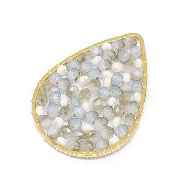 32mm LightGrey Drop Glass Beads